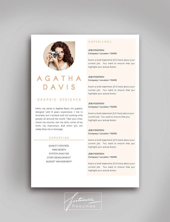 Resume Template 3 Page Cv Template Cover Letter Instant Download For Ms Word Quot Agatha Quot Cv Template Resume Template Resume Design