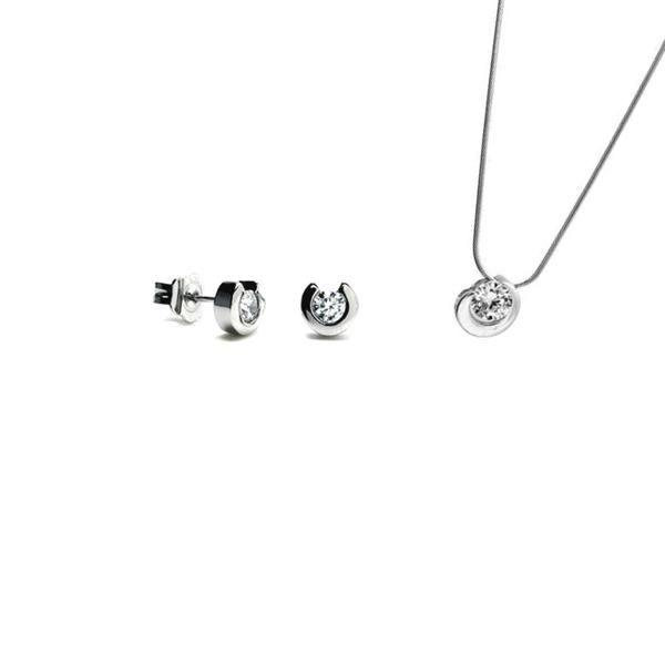 53e4a9723d27 Precioso Conjunto de Colgante y Pendientes con un toque de color. Conjunto  de Joyas en Plata y Circonitas. ¡…