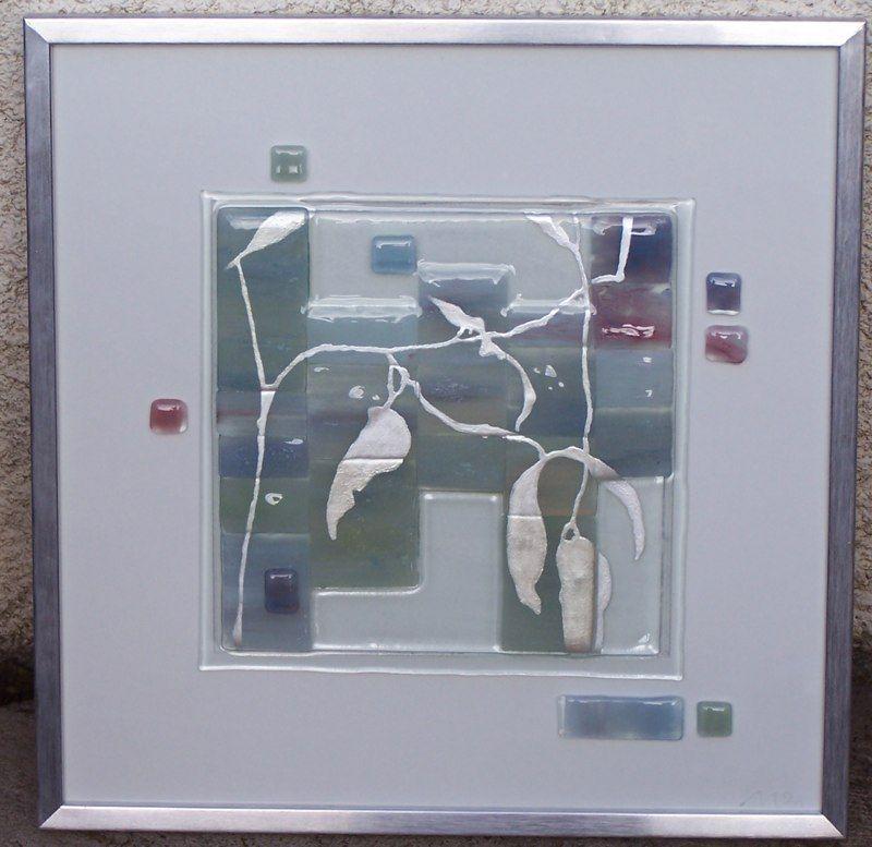 tableau en verre fusionn avec emaux feuilles argent display ideas for glass pinterest. Black Bedroom Furniture Sets. Home Design Ideas