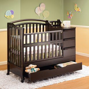 Mini Crib With Drawers And Converts Into A Toddler Bed