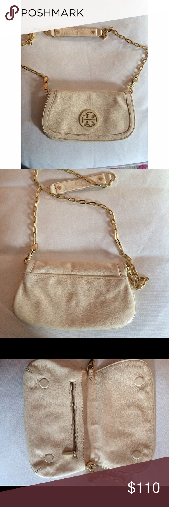 Tory Burch Beige Cross Body Bag Great going out purse! As seen in the photos, she is in good shape but has some minor wear inside the bag (lipstick stain) and the outside Tory Burch logo is scratched as well as the side of the gold clasp. Originally 275! Open to reasonable offers :) Tory Burch Bags Crossbody Bags