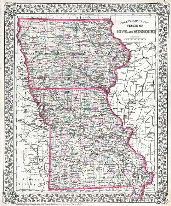 iowa and missouri map Antique Map Of Iowa And Missouri Published In 1874 Antique Map iowa and missouri map