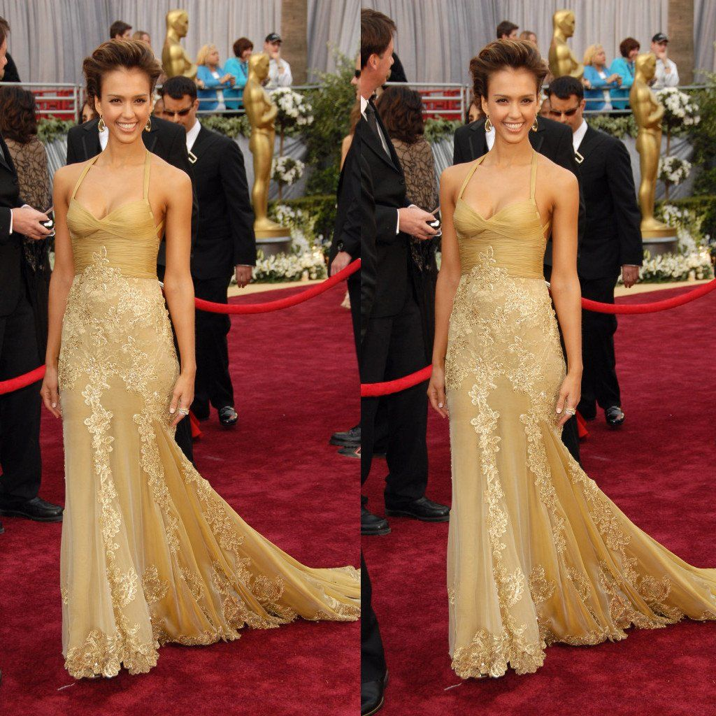 Celebrity Style Halter Gold Lace Tulle Long Mermaid Prom Dresses
