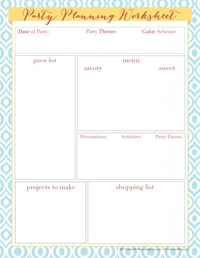 Worksheets Party Planning Worksheet the heart of hospitality budgeting and planners free printable party