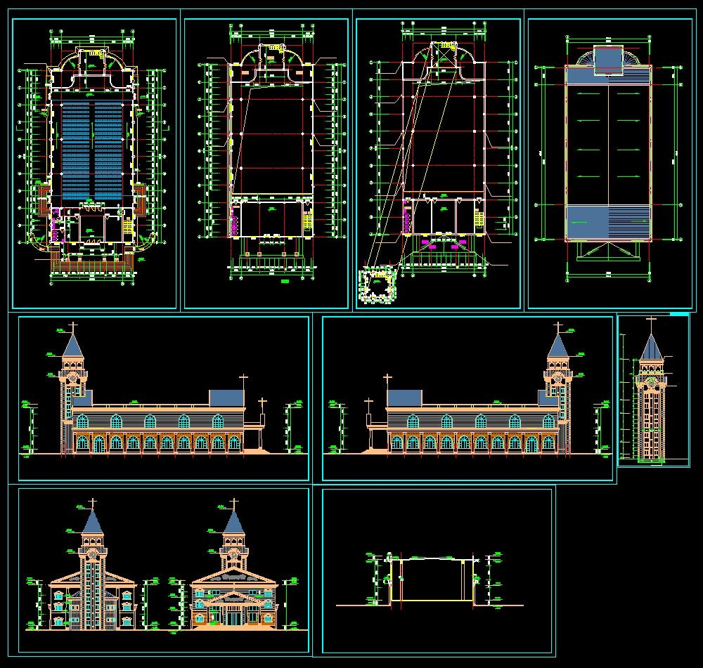 Cathedrals and church 2 cad design free cad blocks for Online cad drawing