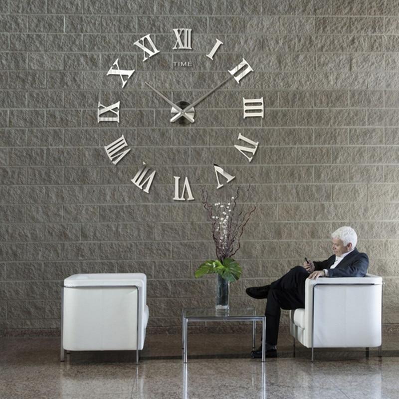 Diameter 40cm 100cm Diy Roman Numerals Wall Clocks 3d Mirror Clock Wall Stickers Diy Clock Wall Mirror Wall Clock Wall Clock Modern