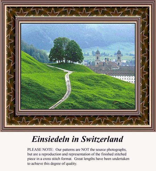 Einsiedeln in Switzerland, alluring landscapes counted cross stitch patterns, designs, charts, kits