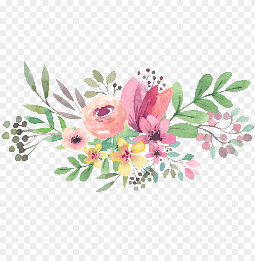 Transparent Watercolor Flowers Png Image With Transparent Background Png Free Png Images Floral Design Drawing Watercolor Pattern Design Flower Drawing