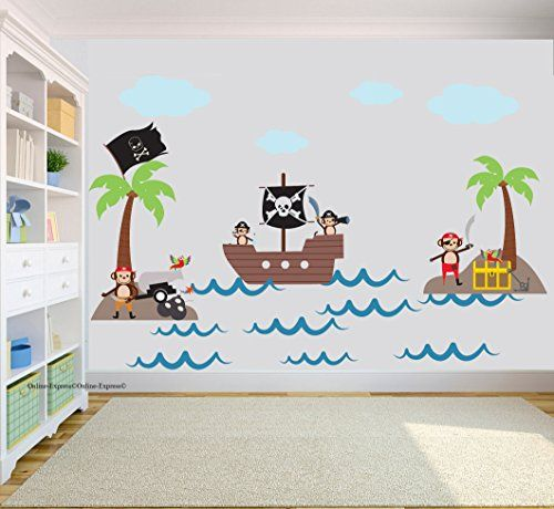 Monkey Pirate Tree Jungle Nursery Wall Stickers Art Decal Vinyl - Decals for boats uk