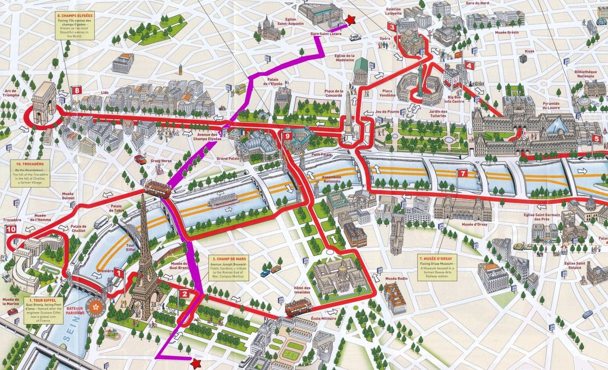 Paris Hop On Hop Off Bus Map Plan Paris Louvre Versailles