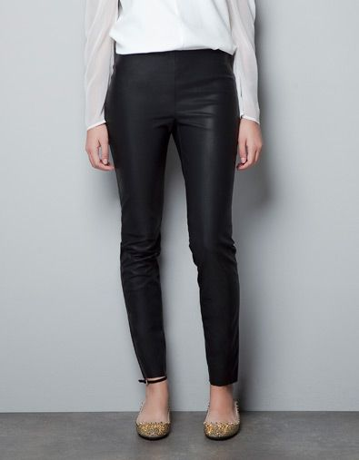 LEGGING ENGOMADO EFECTO PIEL Pantalones Mujer ZARA