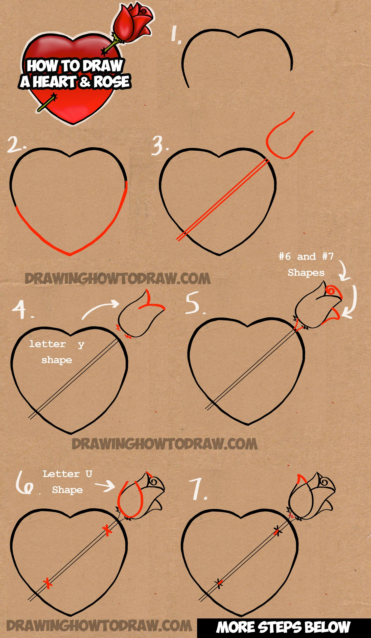 how to draw a heart with a rose piercing it like an arrow