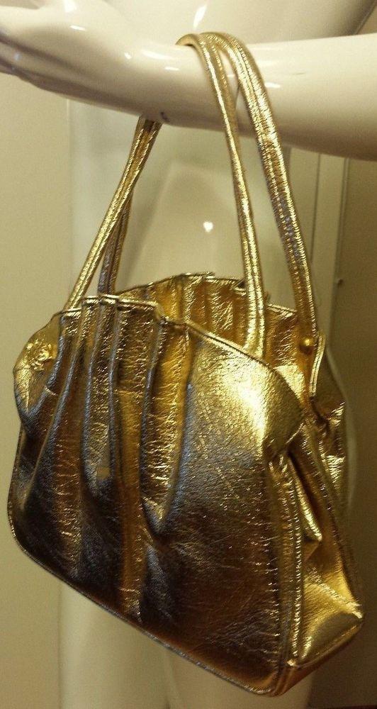 Vintage, 1960's, Iridescent Bright Gold, Split Leather, Organizer, Handbag #Unbranded #Baguette