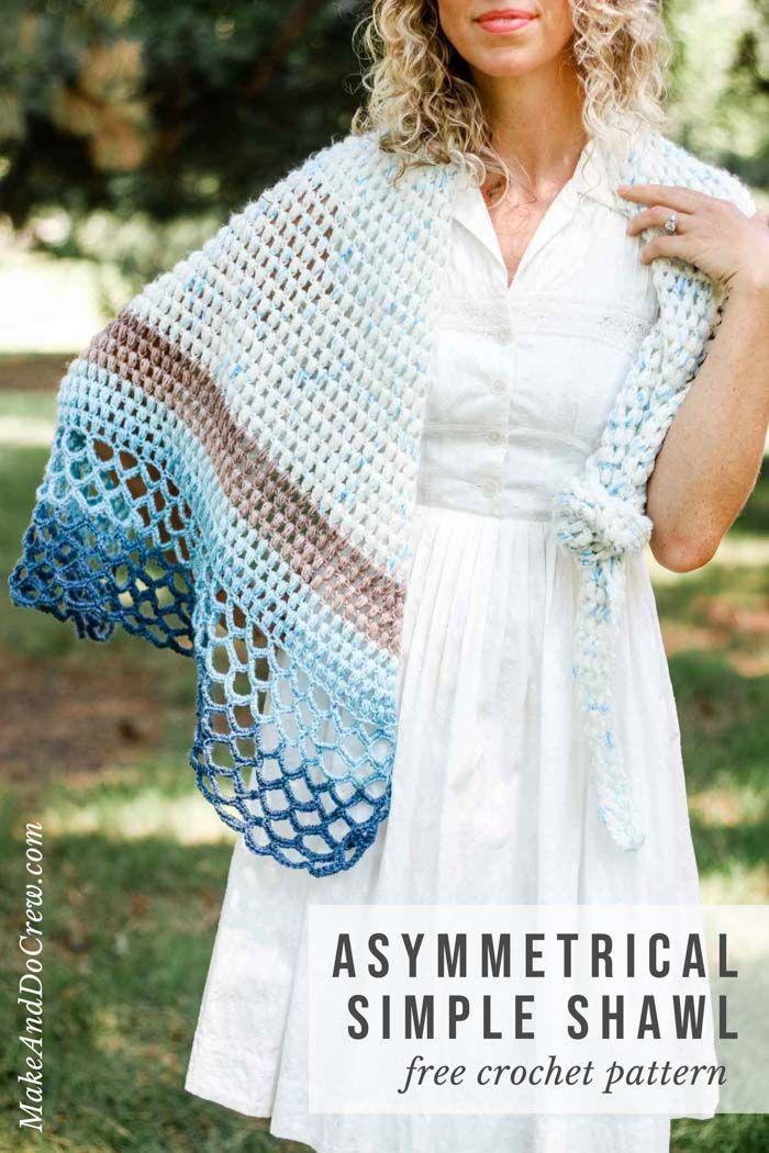 Rising Tide Asymmetrical Crochet Triangle Shawl – Free Pattern ...