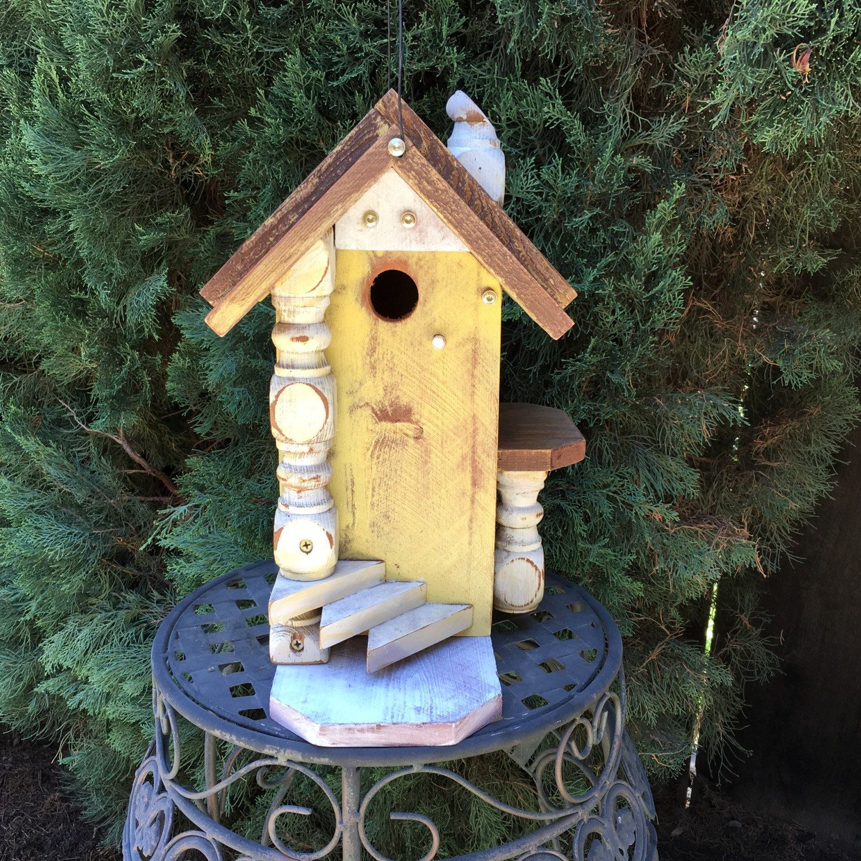 Yellow Rustic Birdhouse Decorative Functional Unique Bird ...