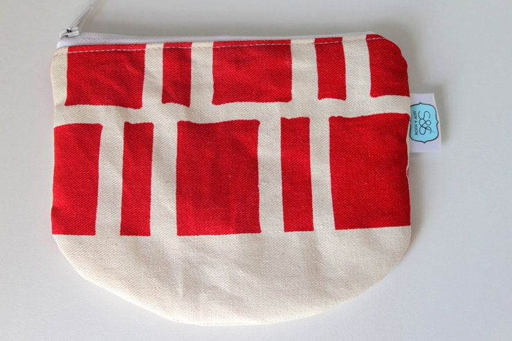 """Round Pouch in """"Red Blocks"""" by Sew & Such. Shop in Hellopretty.co.za"""