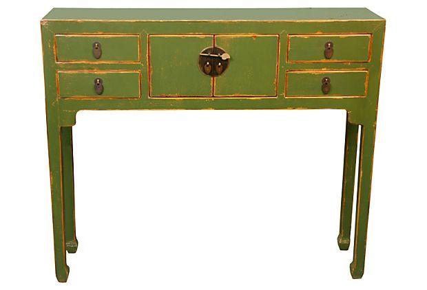 4-Drawer Console Table, Green on OneKingsLane.com
