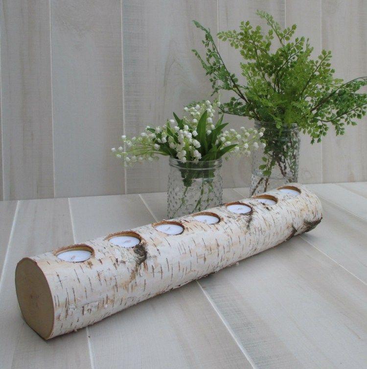 Rustikales teelichthalter aus birkenstamm ideen f r bh for Deko aus birkenholz