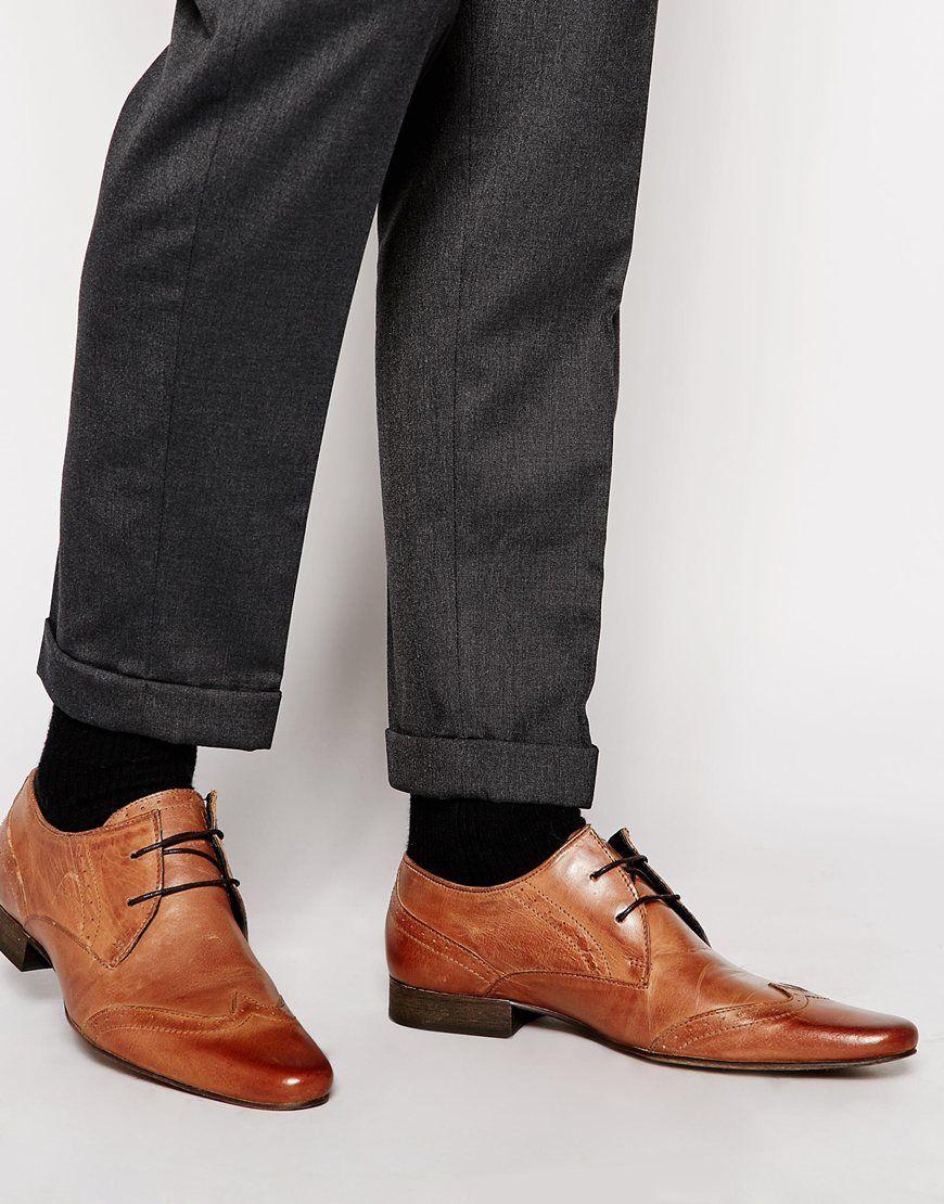 4371a2b88df715 Schuhe von H by Hudson poliertes Leder Schnürung spitze Zehenpartie  Budapester-Design Abwischen Obermaterial aus 100% echtem Leder