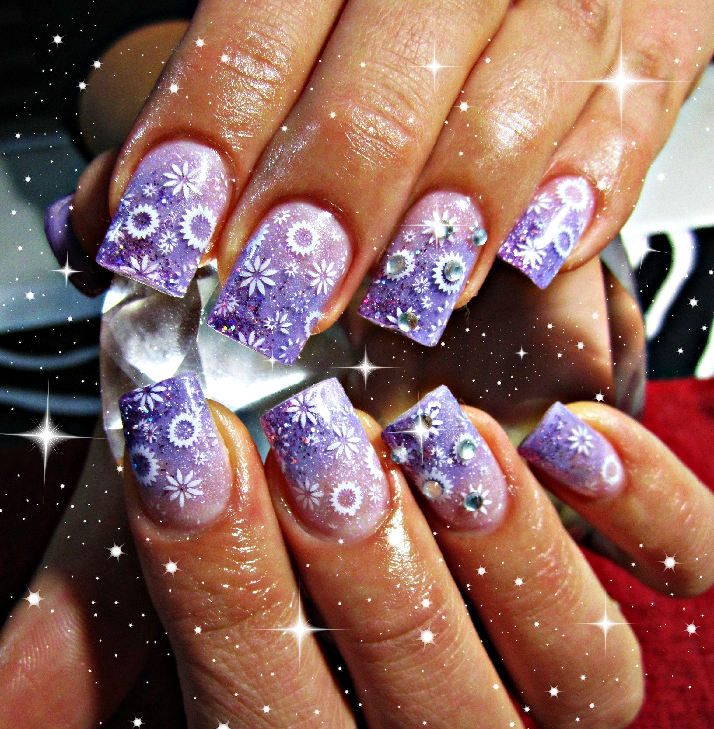 Spring purple acrylic nails