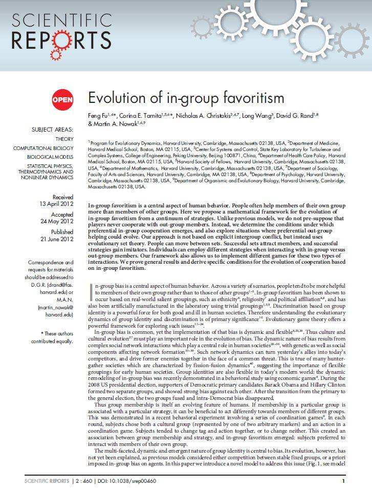 Evolution of in-group favoritism Ethics Pinterest Evolution - Fmla Form