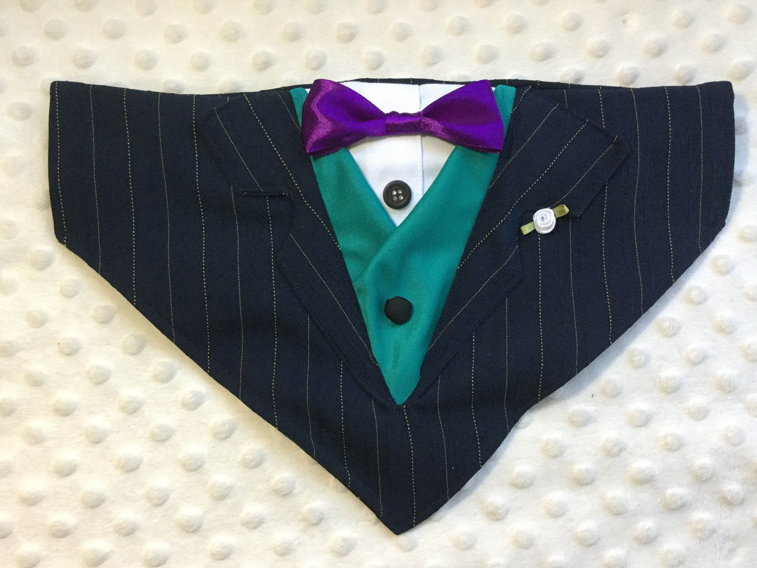fa329fc128 Navy blue pinstriped dog tuxedo with optional vest and bow tie, Collar  Bandana, dog or cat. small, med or large dogs by AmandasBandanas on Etsy