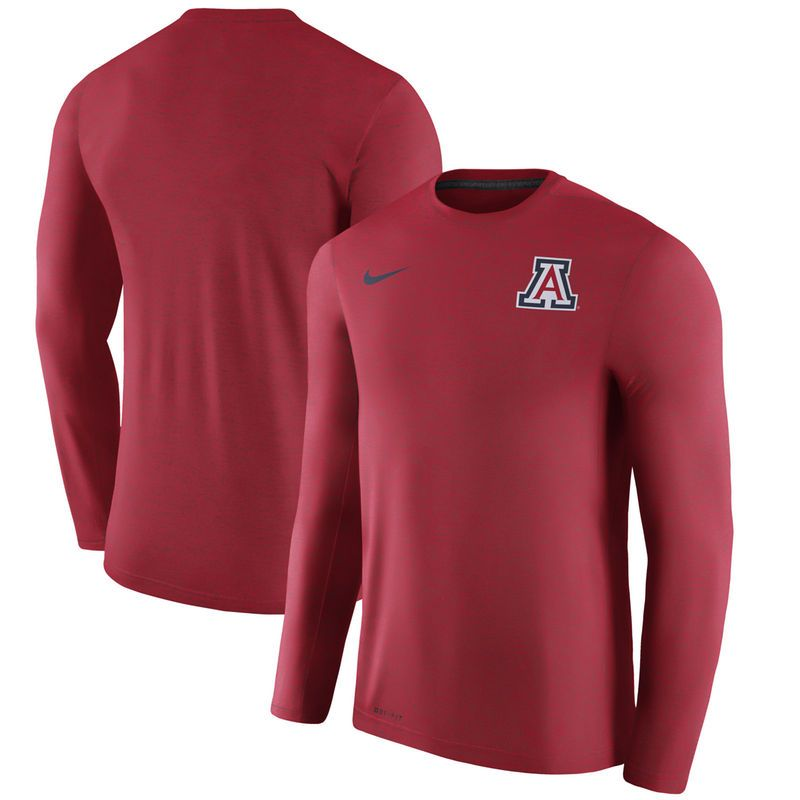 the latest a75f6 49142 Arizona Wildcats Nike 2017 Coaches Dri-FIT Touch Long Sleeve Top - Maroon
