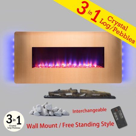 Akdy Fp0069 36 Gold Color Finish Wall Mount Freestanding Convertible 22 Setting 3 In 1 Fuel Bed Electric Fireplace Heater Stove Walmart Com Electric Fireplace Heater Fireplace Heater Electric Fireplace