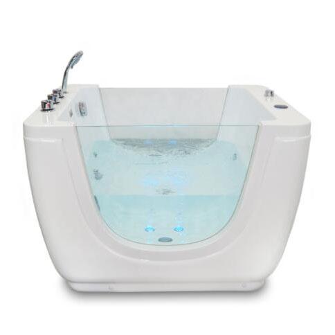 Toddler Bathtub, Double-sided Glass Tub, White 43 Inch Bathtub #babywellness #babyspa #parenting