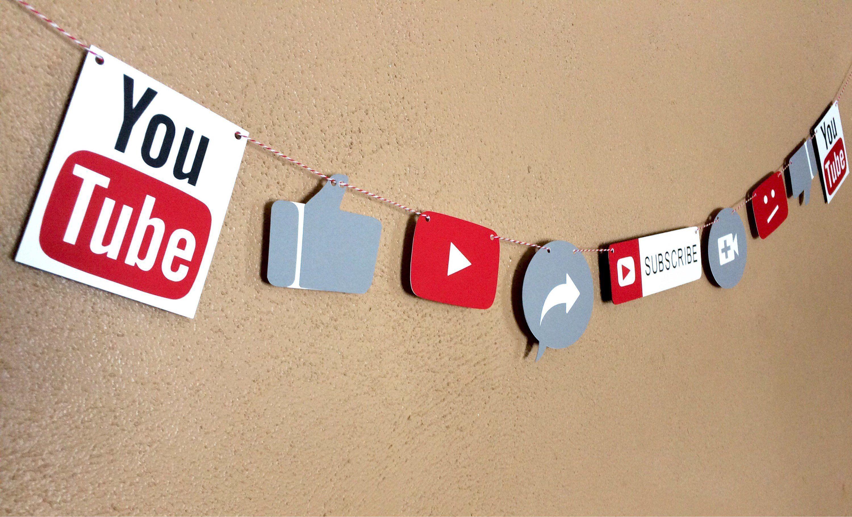 Youtube Party Banner Social Media Theme Birthday Party Youtube Sign Backdrop Youtube Party Birthday Party Themes Party Banner