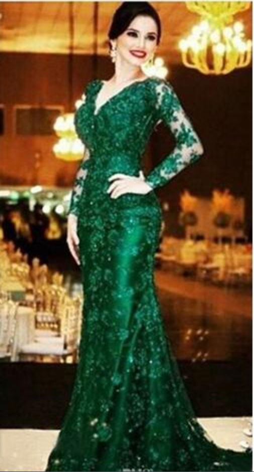 21ff48f0df Dark Green Full Lace Mermaid Evening Dresses Sexy Illusion Back Beaded V  Neck Long Sleeve Formal Gowns Custom Made