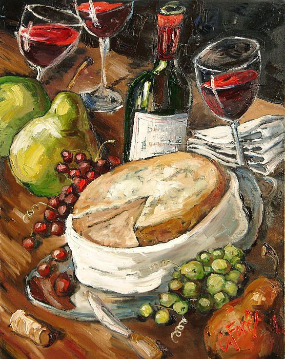 Wine And Cheese Painting | Art by Me - Carole Foret Giclee ... Wine And Cheese Art