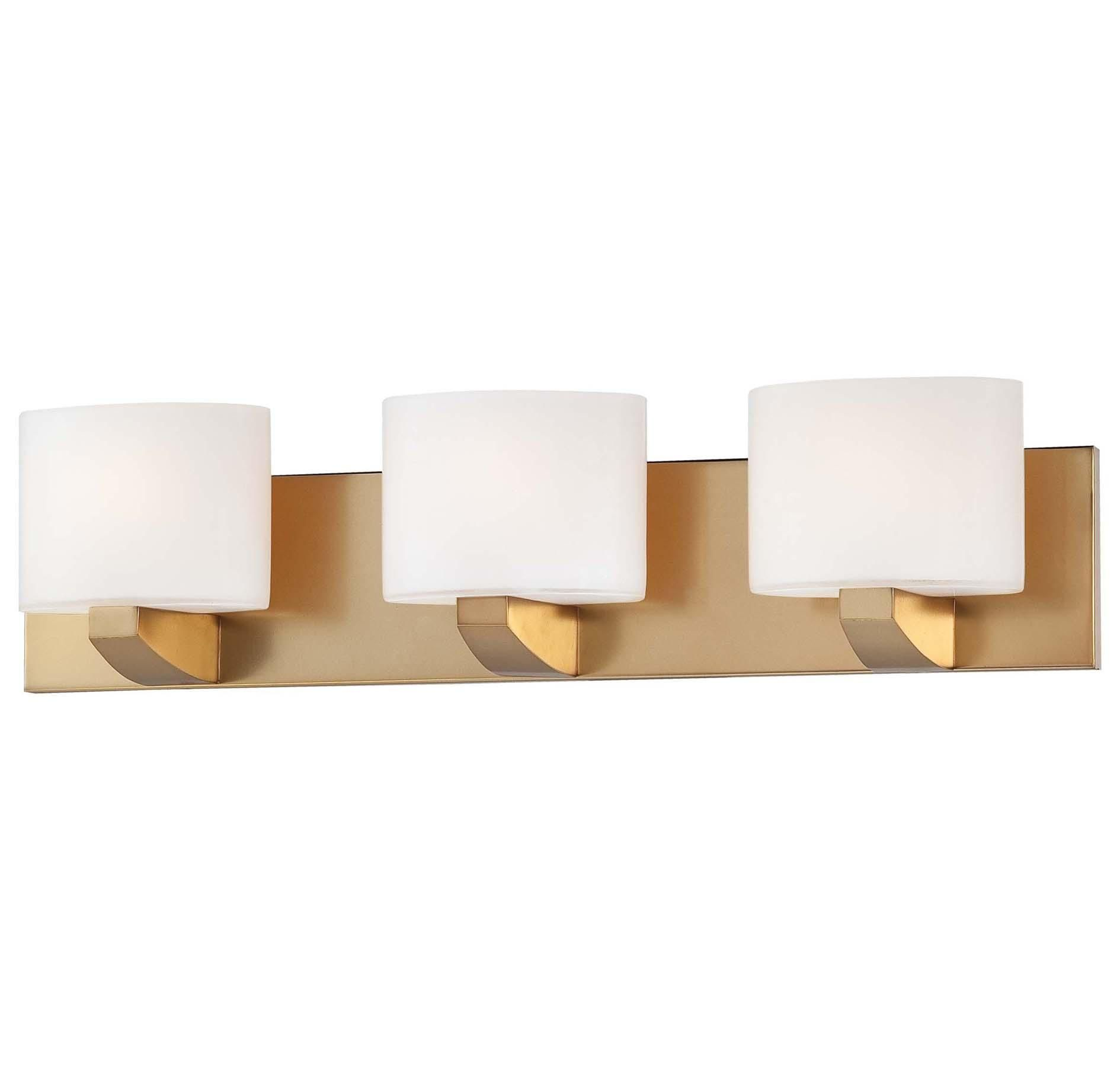 Minka Lavery Modern Craftsman Bath Gold 3 Light Bath in Wall