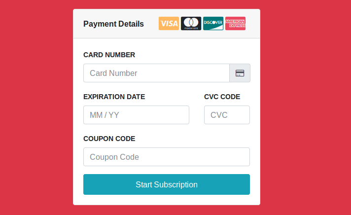 Bootstrap 4 Credit Card Payment With Stripe Form Design Pinterest