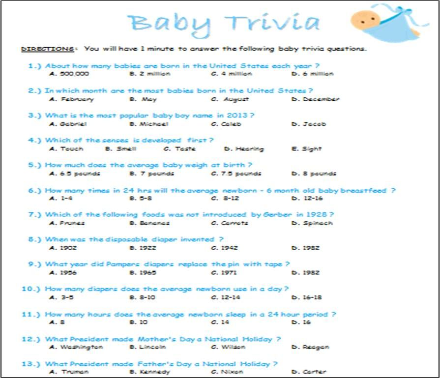 Baby Trivia Baby Shower Game Word Document I Made To Print Out