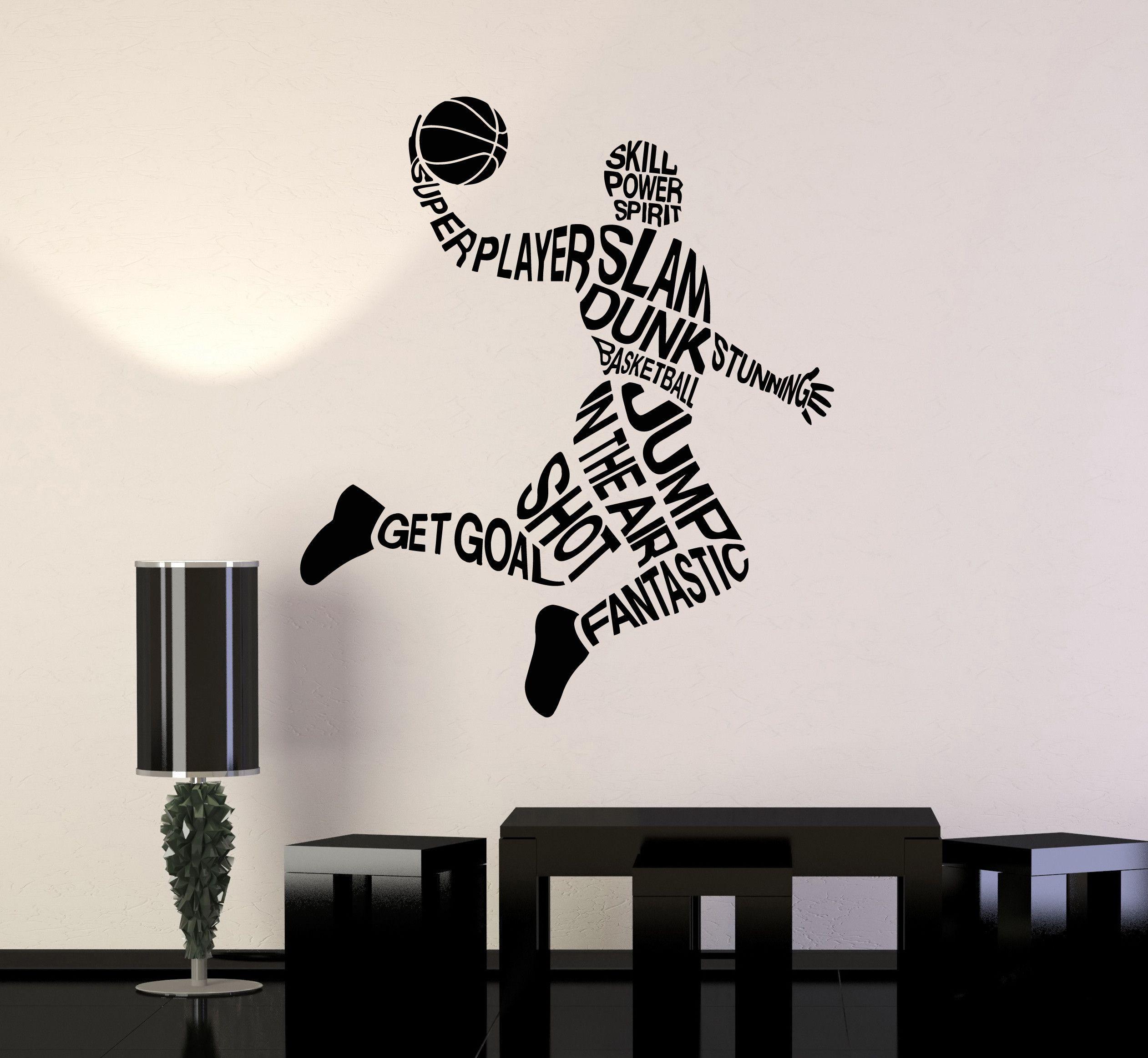 Vinyl Wall Decal Basketball Player Words Sports Art