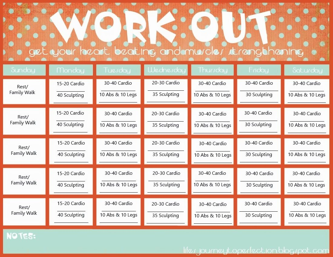 Workout Calendar Free Printable  Google Search  Work It