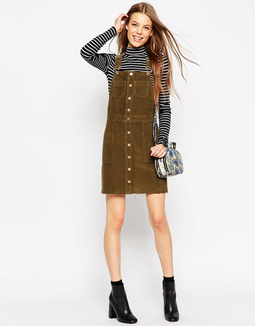 Cord button front dungaree dress with raw hem in olive green nähen