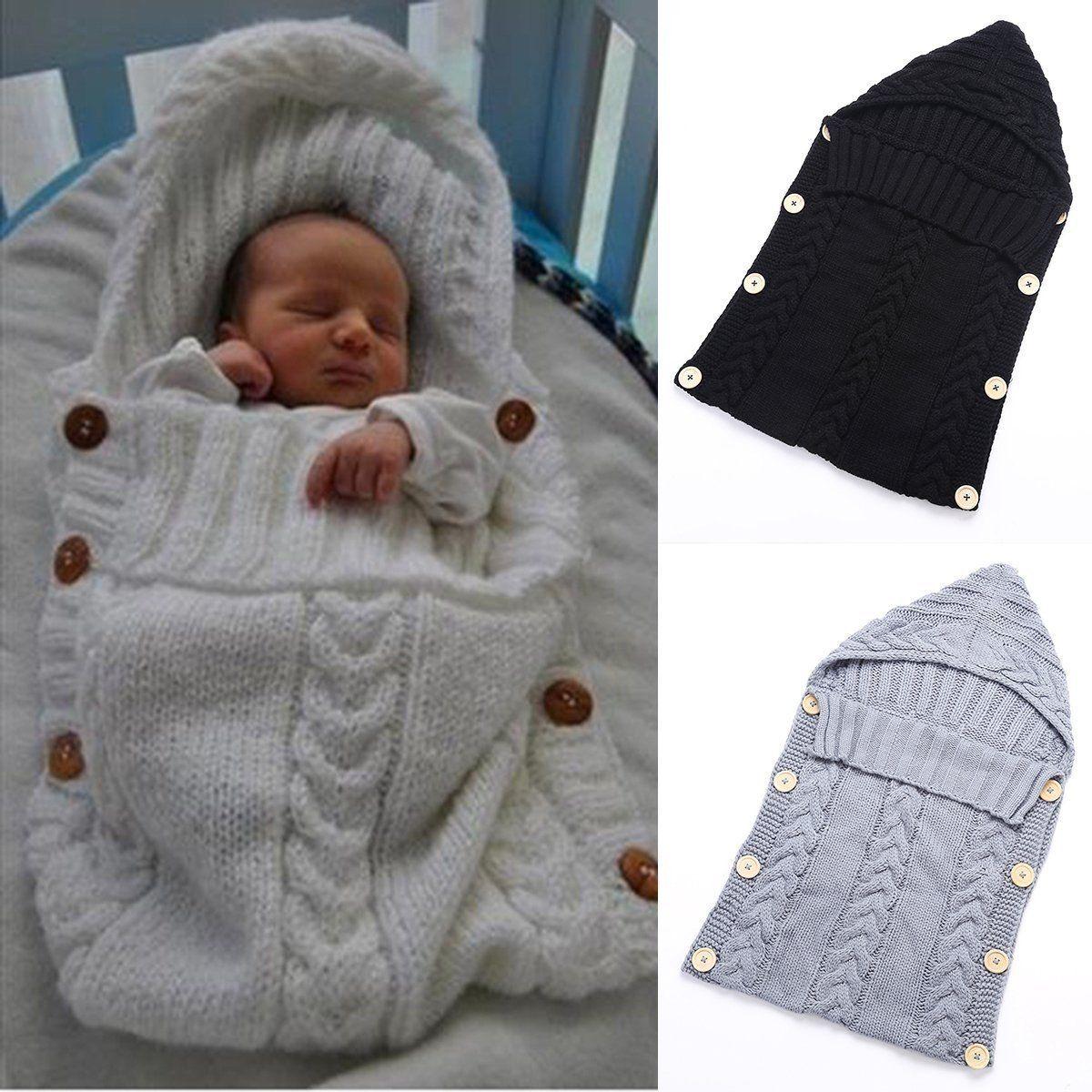 Newborn Baby Blanket Knit Crochet Swaddle Sleeping Bag Stroller Wrap Sleep sacks