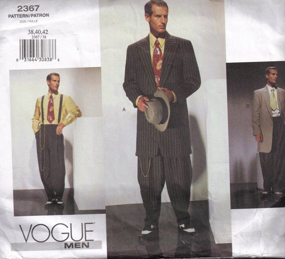 Sewing Pattern Vogue 2367 Mens Retro Zoot Suit Cinched Raised High ...