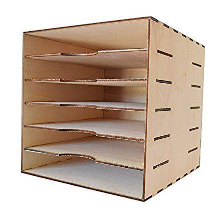 Organiseur Avec Cinq Tablettes Pour Papiers De 12 X12 30 5 X 30 5 Cm Rangement Pour Loisirs Creatifs Diy Desk Organization Bricolages En Carton
