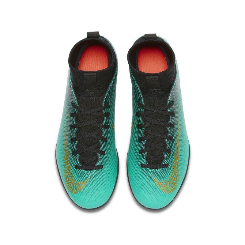 1b4b7d3cc2a Nike Jr. MercurialX Superfly VI Club CR7 IC Younger Older Kids Indoor Court Football  Shoe - Green