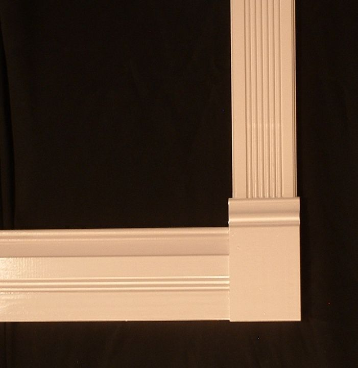 Fluted Casing with Plinth Rosette | painted poplar trim with