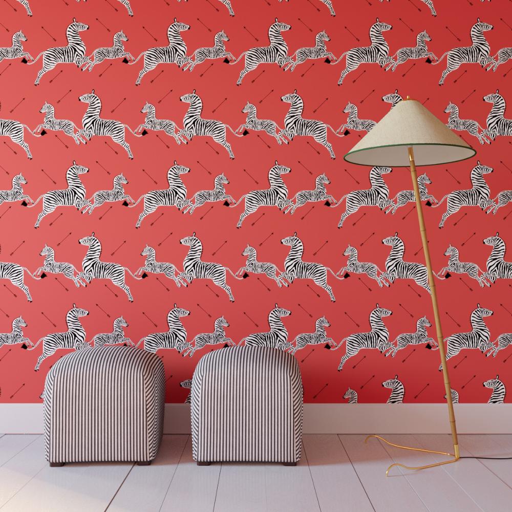 Coral Zebra Upholstered Custom Peel And Stick Wallpaper Roll Zebra Print Wallpaper Peel And Stick Wallpaper Zebra Wallpaper