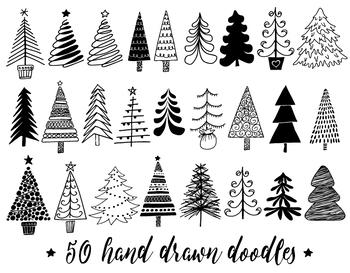 Christmas Tree Clipart Hand Drawn Christmas By Pixel Garden Designs Teachers Pay Teachers Tree Doodle Christmas Doodles Christmas Tree Clipart