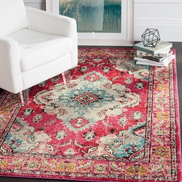Safavieh Monaco Bohemian Medallion Pink/ Multicolored Distressed Rug ...