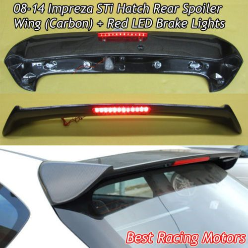 Sti Style Roof Spoiler Wing Carbon Red Led Fits 08 14 Subaru Impreza 5dr Impreza Red Led Subaru Impreza