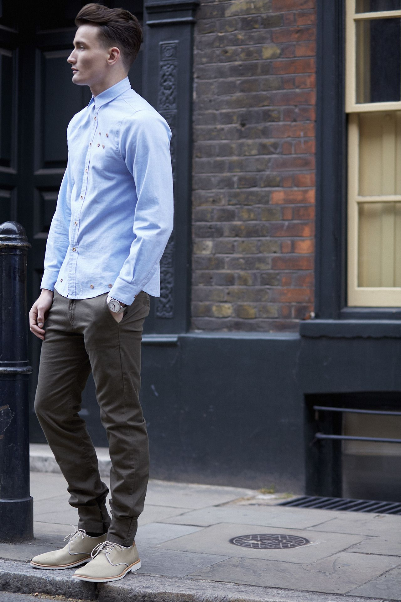 Men's Street Fashion - button up dressy casual downtown lifestyle