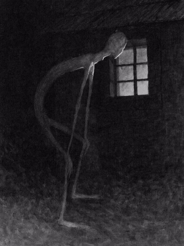 هذه اللوحة تصور الموت وهو يسترق النظر لشخص يحتضر رسمها جادوسالف بانسكا Jadosalv Panuska عام 1900 Death Looki Arte Obscura Arte Macabra Fotografia Sombria