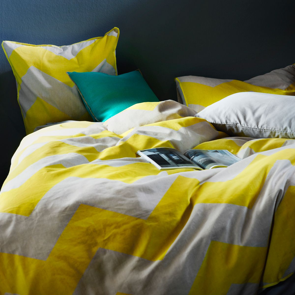 AURA Chevron Grande in Bright Yellow | AURA Home Bedlinen ... : bright yellow quilt - Adamdwight.com
